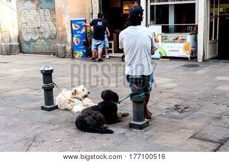 Tossa de Mar, Spain - August 6, 2014: Street scene in the town of Tossa de Mar, Costa Brava