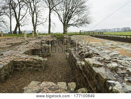 Remains of Roman fort at Hadrian's Wall in Cumbria, England close to the Scottish border