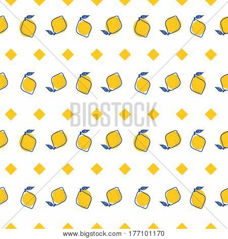 Blue and yellow lemon mediterranean seamless tile pattern. Geometric and citrus shapes vector texture for ceramic design, textile and wallpaper.