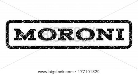 Moroni watermark stamp. Text caption inside rounded rectangle with grunge design style. Rubber seal stamp with scratched texture. Vector black ink imprint on a white background.