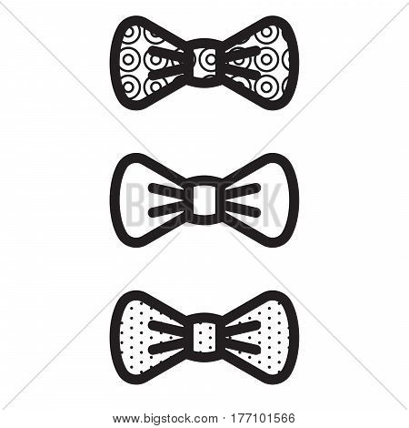 Bow-tie vector black decorated icons. Suit dress code bow set design.