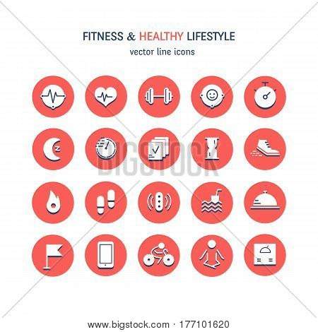 Vector flat icons set - sport, yoga, fitness and health made in circles,  isolated on white background.