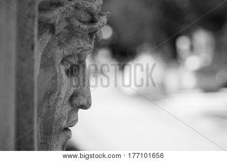 Jesus Christ statue (Faith religion sin salvation concept)