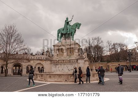 BUDAPEST HUNGARY - FEBRUARY 20 2016: Fisherman's Bastion with equestrian statue of St. Stephen in Budapest Hungary