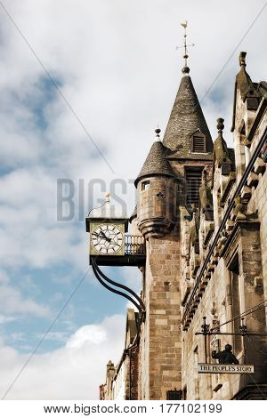 The Canongate Tolbooth's Clock Royal Mile Edinburgh Scotland UK