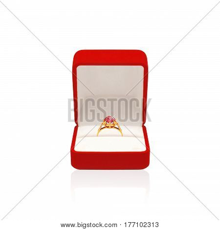 Golden Ring With Diamond In Red Box Isolated On A White Background