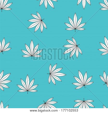Modern stylish texture. A seamless pattern with leaf. Abstract leaves on blue background. Vector illustration