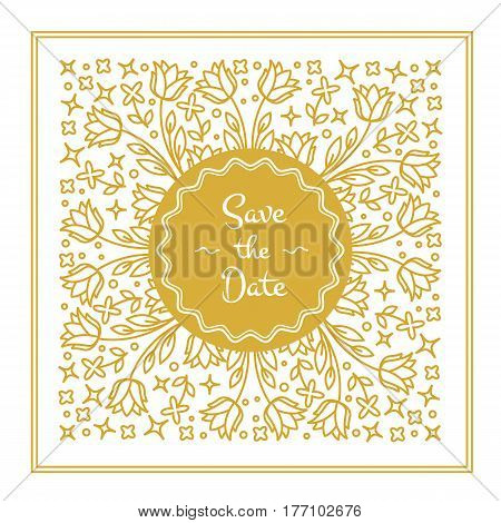 Vector wedding invitation or save the date card design template in trendy linear style with floral elements and place for text. Gold vector illustration.