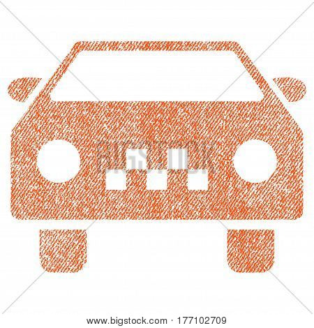 Taxi Car vector textured icon for overlay watermark stamps. Fabric orange vectorized texture. Symbol with scratched design. Rubber seal stamp with fiber textile structure.