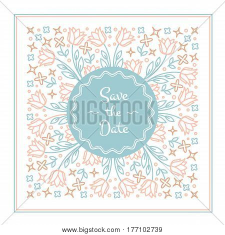 Vector wedding invitation or save the date card design template in trendy linear style with floral elements and place for text.