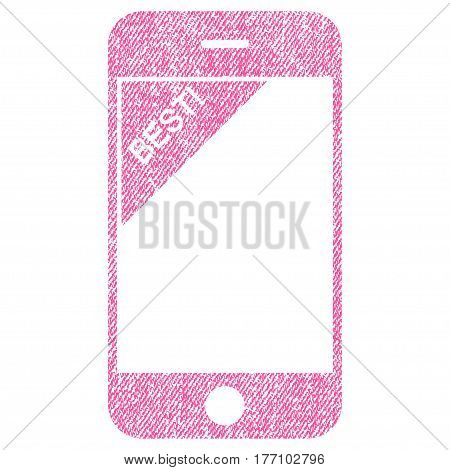 Best Telephone vector textured icon for overlay watermark stamps. Fabric pink vectorized texture. Symbol with dirty design. Rubber seal stamp with fiber textile structure.