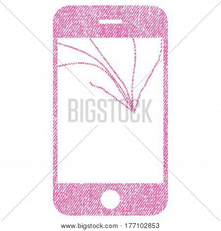 Broken Smartphone Screen vector textured icon for overlay watermark stamps. Fabric pink vectorized texture. Symbol with dust design. Rubber seal stamp with fiber textile structure.