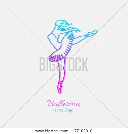 Vector logo design template in trendy linear style - emblem for ballet school or studio, dance studio. Ballerina in dance. Ballet dance pose.