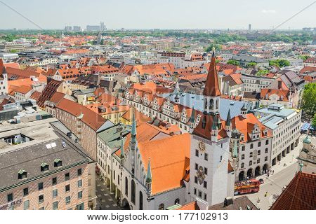 Panoramic view of the Old Town architecture of Munich Bavaria Germany.