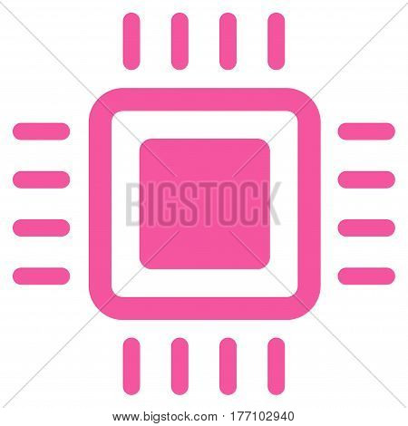 Processor vector icon. Flat pink symbol. Pictogram is isolated on a white background. Designed for web and software interfaces.