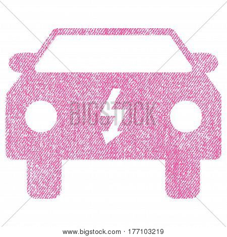 Electric Car vector textured icon for overlay watermark stamps. Fabric pink vectorized texture. Symbol with dust design. Rubber seal stamp with fiber textile structure.