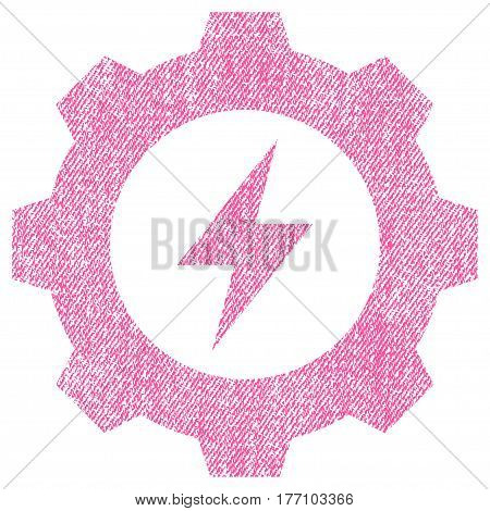 Electric Energy Gear vector textured icon for overlay watermark stamps. Fabric pink vectorized texture. Symbol with dust design. Rubber seal stamp with fiber textile structure.