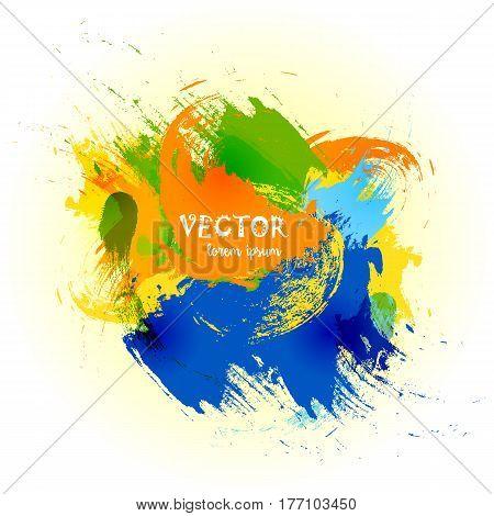 Vector watercolor splash. Vector watercolor background. Colorful abstract texture and watercolor drop. Vector design elements. Rainbow art background.