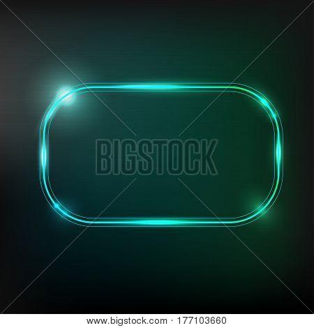Retro design. Neon frame. Shining rectangle banner. Isolated on dark background. Vector illustration.