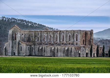 Ancient Abbey Of San Galgano In Tuscany, Italy