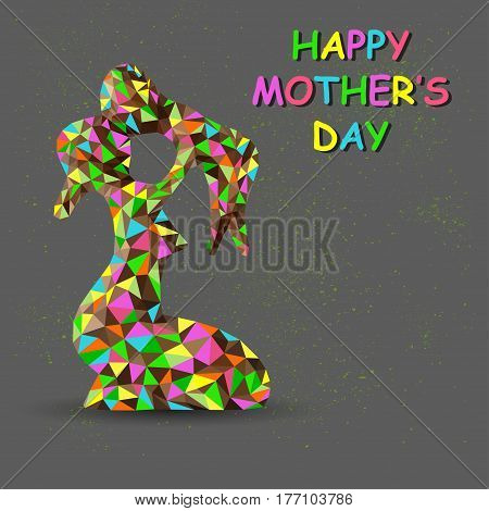 Mom and baby vector illustration. Happy mothers day. Card of Happy Mother`s Day. Beautiful mother with her child.