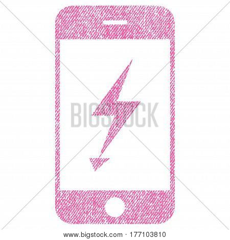 Electric Mobile Phone vector textured icon for overlay watermark stamps. Fabric pink vectorized texture. Symbol with unclean design. Rubber seal stamp with fiber textile structure.