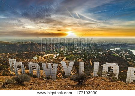 Los Angeles CA USA - October 28 2016: Colorful sky over Hollywood sign