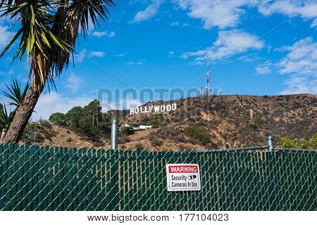 Los Angeles CA USA - October 28 2016: Hollywood sign under clouds