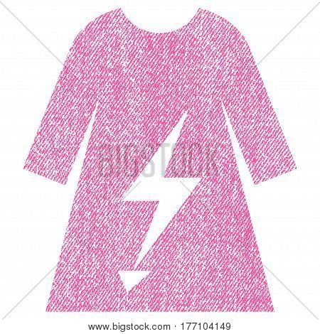 Electric Power Lady Dress vector textured icon for overlay watermark stamps. Fabric pink vectorized texture. Symbol with dust design. Rubber seal stamp with fiber textile structure.