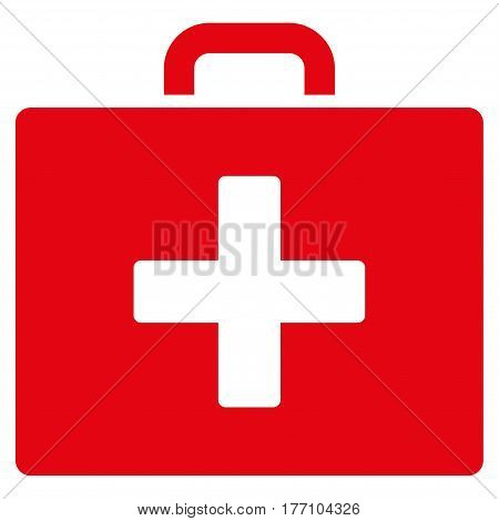 First Aid Bag vector icon. Flat red symbol. Pictogram is isolated on a white background. Designed for web and software interfaces.