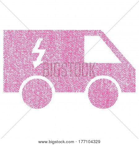 Electrical Car vector textured icon for overlay watermark stamps. Fabric pink vectorized texture. Symbol with dirty design. Rubber seal stamp with fiber textile structure.