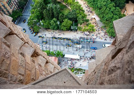 Barcelona, Spain - August 7, 2014: Looking down from Sagrada Familia at Barcelona streets and parks