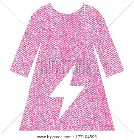 Electricity Female Dress vector textured icon for overlay watermark stamps. Fabric pink vectorized texture. Symbol with scratched design. Rubber seal stamp with fiber textile structure.