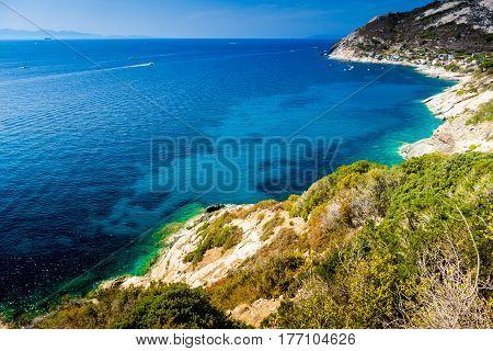 Cristal sea water in Pomonte Elba island