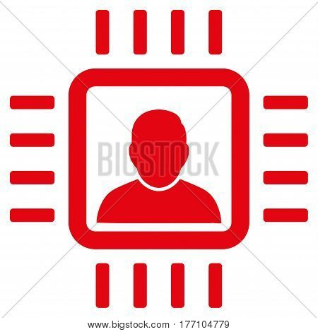 Neuro Processor vector icon. Flat red symbol. Pictogram is isolated on a white background. Designed for web and software interfaces.