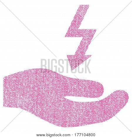 Electricity Supply Hand vector textured icon for overlay watermark stamps. Fabric pink vectorized texture. Symbol with scratched design. Rubber seal stamp with fiber textile structure.