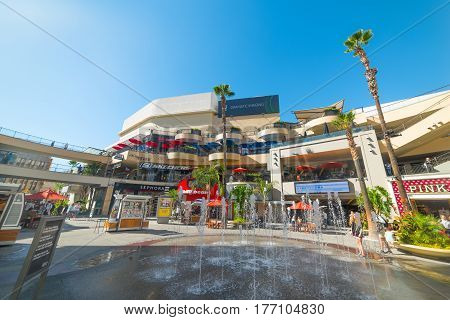 Los Angeles CA USA - November 02 2016: Fountain in Hollywood & Highland mall