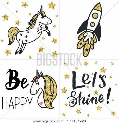 Set of cards with gold glittering unicorns rocket text and stars. Hand drawn vector illustration.