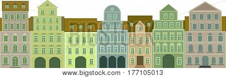 front view of historical tenements - vector illustration