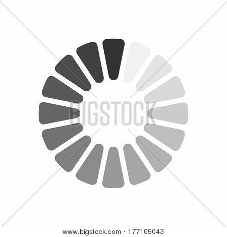 Gray download sign isolated on white background. Load icon in flat design. Data loading bar. Vector illustration.