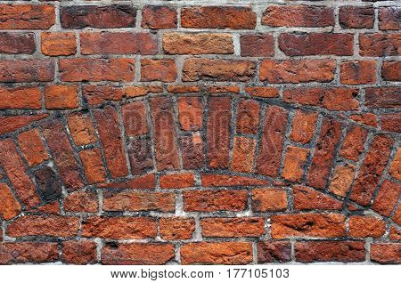 Medieval brick wall texture. Architectural pattern and background.