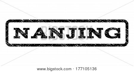 Nanjing watermark stamp. Text caption inside rounded rectangle frame with grunge design style. Rubber seal stamp with unclean texture. Vector black ink imprint on a white background.