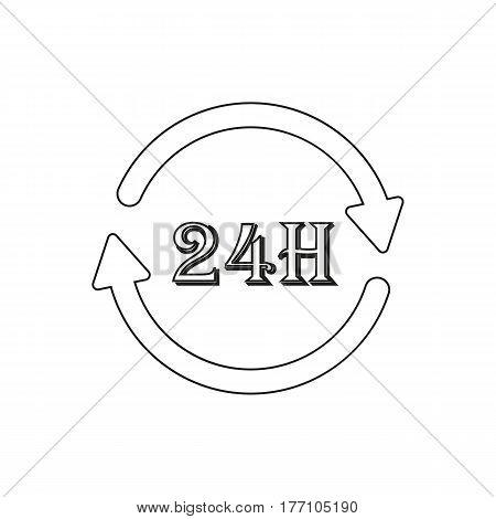 Around the clock icon on the white background. Vector illustration