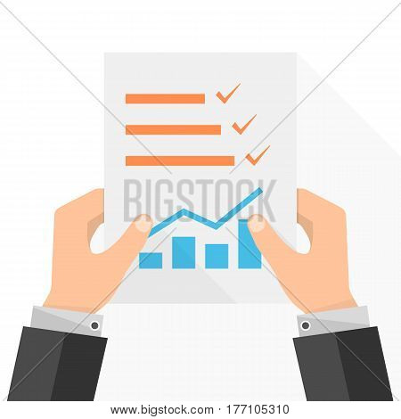 The paper checklist in the hand. Vector illustration. Report file in flat design. Concept of quality control.
