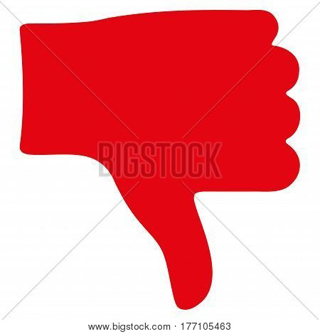 Thumb Down vector icon. Flat red symbol. Pictogram is isolated on a white background. Designed for web and software interfaces.