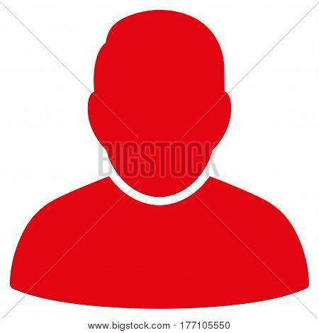 User vector icon. Flat red symbol. Pictogram is isolated on a white background. Designed for web and software interfaces.