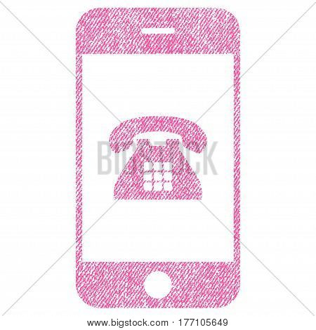 Mobile Phone vector textured icon for overlay watermark stamps. Fabric pink vectorized texture. Symbol with unclean design. Rubber seal stamp with fiber textile structure.