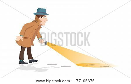 Cartoon illustration of a detective holding a flashlight.
