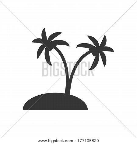 Desert island silhouette on the white background. Vector illustration
