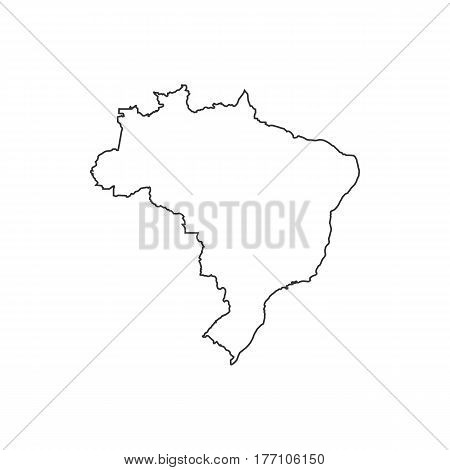 Federative Republic of Brazil map silhouette illustration on the white background. Vector illustration